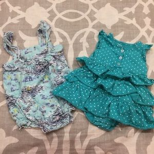 6M Ruffled Dress & Beach Scene Romper